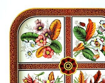 Vintage Daher Tin Tray Colorful Pink Flowers Metal Kitchen Serving Ware Orange Leaves Green Nature Lithograph Illustration Dark Red Pattern