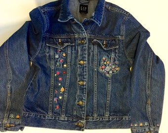 Altered Couture Upcycled Girls Jean Jacket Hippie Gypsy Boho