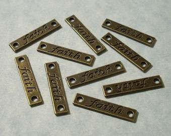 10 Engraved Faith Charms Connector Charms Inspirational Charms 5 x 26mm