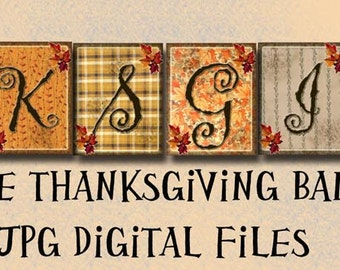 "THaNKSGIVING Banner/ Garland/ Sign/ Bunting- Autumn/Fall Decoration -Large 4""X5"" Size- THrEE Printable Collage Sheets  JPG Digital Files"