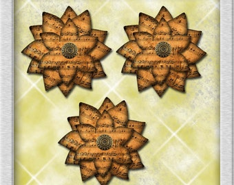 Primitive Poinsettias Christmas Ornament Pattern -Create Your Own Decorations- Printable Collage Sheet JPG Digital File-New Lower Price