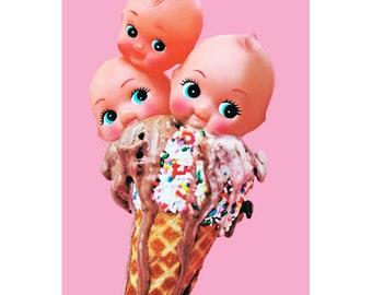 ice cream kewpie print 5 x 7 TRIPLE SKEWPIE