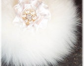 Luxury Natural Merino Wool Body Powder Puff with Crystal and Pearl Button Handle