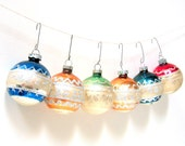 Six Christmas Ornaments - Shiny Brite - Glass Balls - Mercury Glass - Made in USA - Set of Six