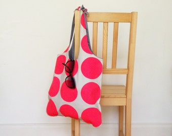 Tote bag with neon pink circles - heavy cotton, lined
