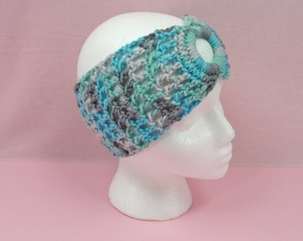 CROCHET HEADBAND Icelandic Colors Ear Warmer Teens Womens Girls Adult Cowl Scarf Teal Gray Aqua Turquoise