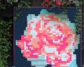 PDF pattern Instant Download Recollection PIXEL ROSE modern quilt by Katarina Roccella