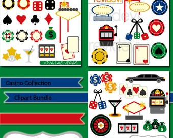 Casino Collection Clipart Bundle - Viva las vegas, gambling, playing cards, fruit machine, dice - digital clip art - MGB111