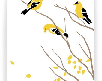 Goldfinches on Bare Branches, Boxed Set of 8 Greeting Cards