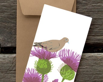 Dove and Thistles -- 8 Blank flat cards and envelopes