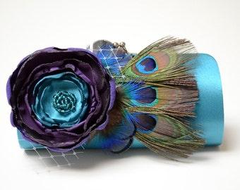 Teal Turquoise Bridal Clutch * Bridesmaid Clutch * Peacock Feather Clutch * Purple Bouquet Flower Clutch * Jewel Tone Clutch