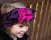 Girl's Polar Fleece Headband - Flapper Style - Purple and Pink - Maddy