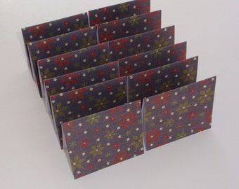 Mini Cards 12 Christmas Poinsettia  - blank for thank you notes 3 x 2 3/4