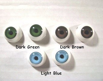 3 PAIR 17mm or 20mm Round Plastic  Doll EYES Concave Convex Style Choose Colors for dolls, fantasy characters, puppets ( PRD - 1 )
