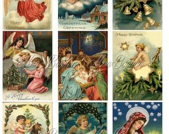 Vintage Christmas Angels Digital Collage Sheet 2.5 x 3.5 size  ATC ACEO ZNE - Pocket Letter Supply