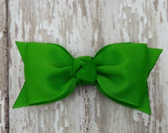 Apple Green Tuxedo Style Toddler Hair Bow 3 Inch Alligator Clip Baby Hairbow