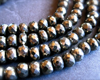 AA Golden Pyrite faceted rondelles  - 6mm X 4.5mm - 10 beads - natural semiprecious stones