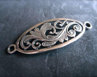 Bracelet Focal - Oval Flourish single strand connector - Solid Sterling Silver - detailed workmanship