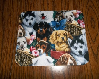 Mouse Pad - Puppies - Rectangle - Round - Heart Shaped - Mat