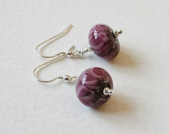 Purple Lampwork Bead Sterling Silver Earrings