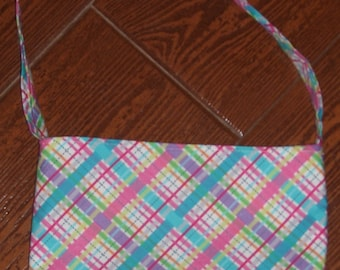 Lil Bias plaid pink toddler purse