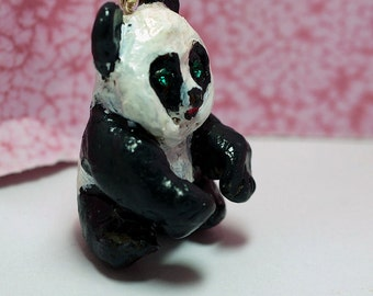 SALE 50% Panda Bear Necklace, Animal Jewelry, 26 Inch Black Cord, Polymer Clay Panda