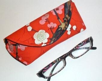 Eyeglass Case Sunglasses Case Magnetic Closure Red Floral Gift for Reader