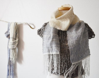 Slate & Snow Ombre -ish Scarf - Handwoven Scarf in Merino Wool, Tencel, Bamboo. From Handspun Wool and Commercially Spun Bamboo Thread.