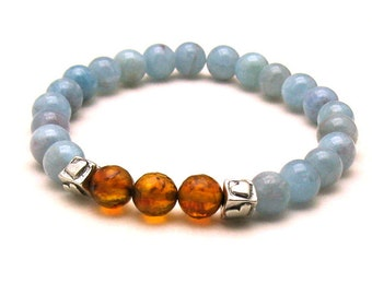 Aquamarine and Baltic Amber Luxe Modern Beaded Bracelet, For Her Under 300