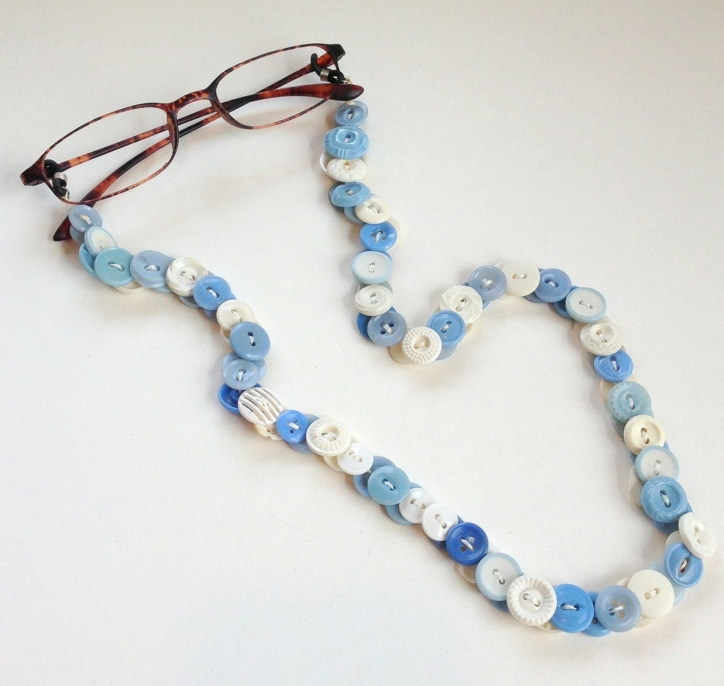 eyeglasses leash in vintage buttons baby blue and white