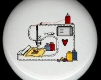Adorable SEWING MACHINE with Thread Spools CERAMIC Knob Handle Pull Craft Room Decor