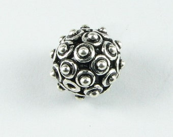 Bumpy Bali Bead Sterling Silver 10mm (1 bead)