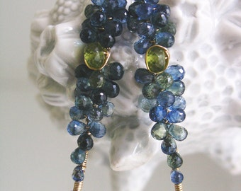 Blue Sapphire Stem Earrings, Gold Filled Linear Dangles, Wire Wrapped Vines, Vesuvianite, Lightweight, Artist Made. Signature, Made to Order