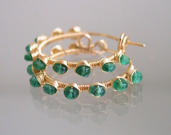 Emerald Gold Filled Hoops, Green Gemstone Earrings, Wire Wrapped, Lightweight, Everyday, Original Design, Signature since 1990's