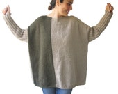 30% SALE - Beige - Army Green Sweater Plus Size Over Size