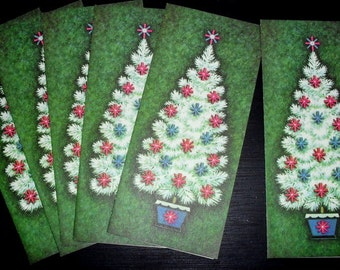 6 Unused  Vintage 1960s Christmas Cards with White Christmas tree and Pink and Blue Ornaments