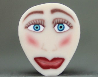 Small Semi-Translucent Polymer Clay Face Cane (5aa)