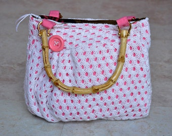 ON SALE adorable upcycled purse - one of a kind recycled bag, small white and pink pleated pouch, handbag, with pockets & zipper, gift idea