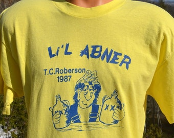 vintage 80s t-shirt Li'L ABNER high school play drama musical drinking tee shirt Medium Large soft thin asheville
