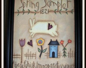 Spring Sampler Primitive 8 x 10 Framed Canvas Home Decor Decoration
