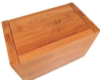 Made With Love Recipe Box - Personalized Recipe Box