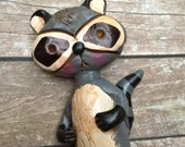 Woodland Raccoon cake topper with your choice of number or banner for birthday party or special occasion
