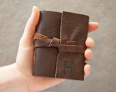 Dark Brown Leather Journal or Sketchbook - Personalized with Initial- Pocket Size