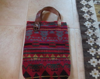 Indian Blanket Tote Bag With Leather Handles