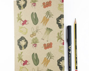 Vegetables A5 plain notebook - recycled eco friedly notepad - carrot , broccoli , tomato , beetroot - garden / allotment / kitchen
