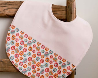 Toddler Girl Bib; Ivory, Pink Floral Bib; Organic Cotton, Reversible Feeding Bib; Highchair Bib Baby Girl; Essential Baby Gear; Tulip Toss