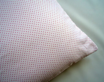 The Perfect Toddler Pillow ... Pink Polka Dots on White Flannel ... Original Design by Sew Cinnamon