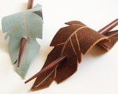 Hair Stick Barrette -  Chocolate Feather - Upcycled Leather