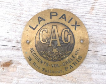 Vintage La Paix  copper Insurance plaque /PARIS