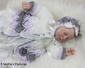 CROCHET PATTERN For Baby Bavarian St Matinee Jacket & Hat in 5 Sizes PDF 177 Digital Download